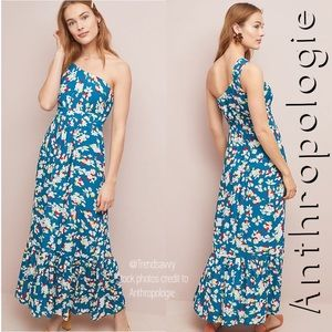 NWT ANTHROPOLOGIE Bouquet One-Shoulder Maxi Dress